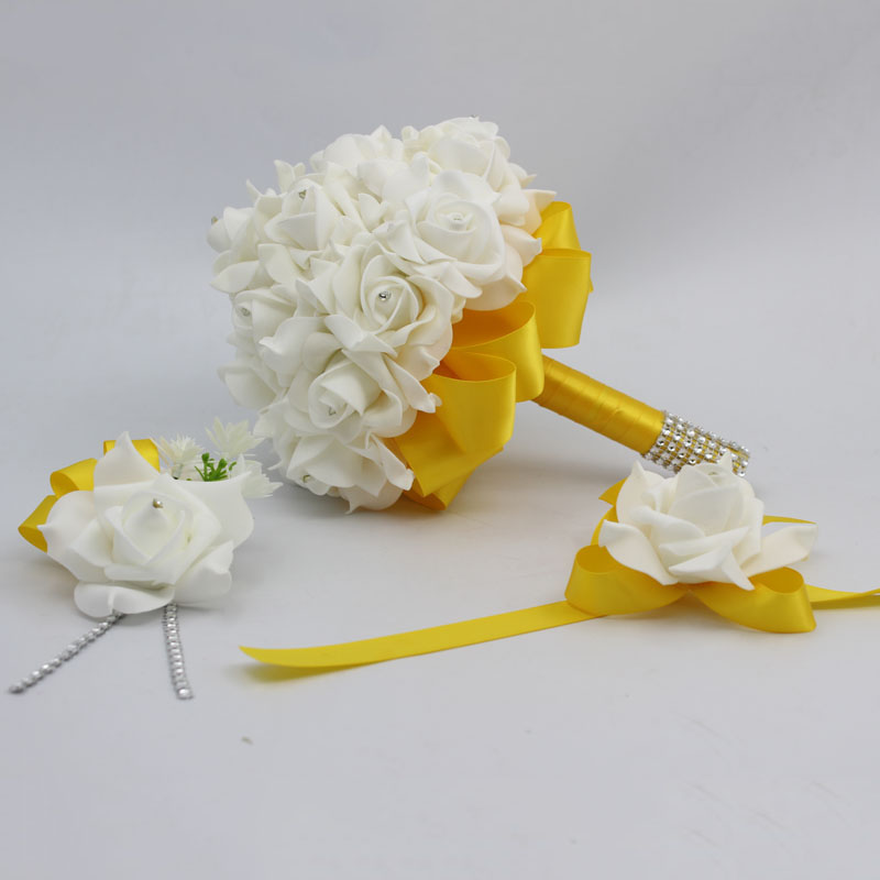 3 Pcs Gold Bridal Bridesmais Rose Flower Wedding Bouquet Man Boutonniere Bride Wrist Corsage Set Home
