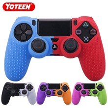 YOTEEN For Dualshock 4 Case Studded Dots Silicone Rubber Gel Skin for Sony PS4 Slim/Pro Controller Cover Case Red Blue ivyueen 9 in 1 for dualshock 4 ps4 slim pro controller studded skin premium protective anti slip soft silicone grip case cover
