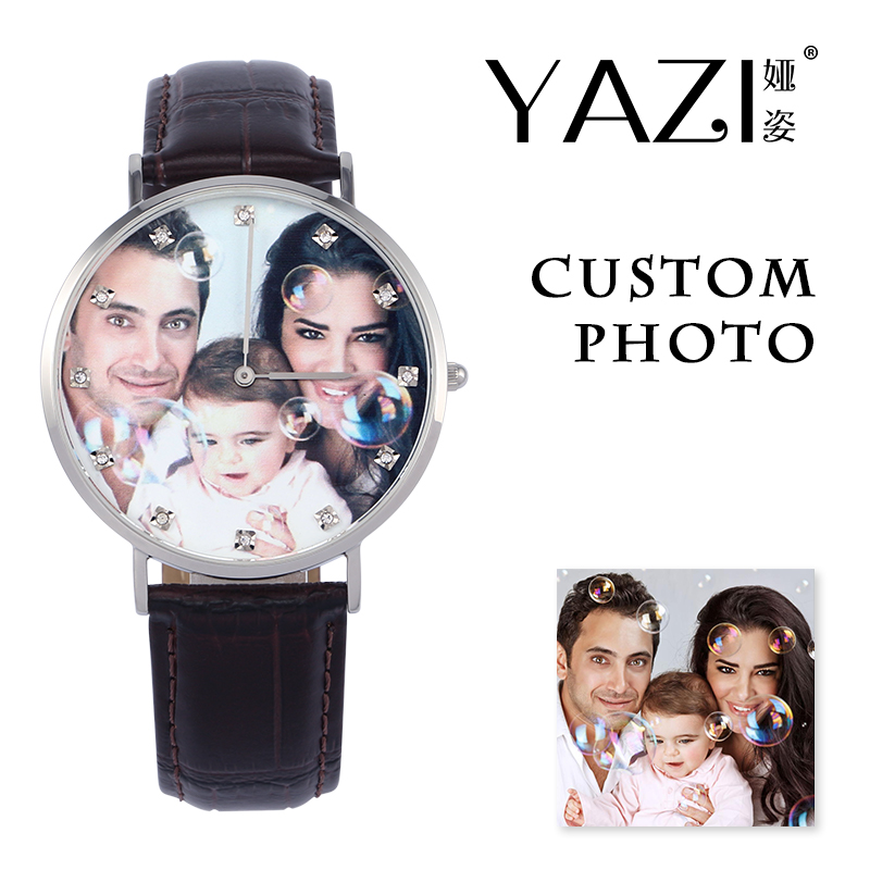 YAZI Unique Stainless Steel Watch Custom Photo Print in Dial Male Watch Creative Fashion Women Watches Bamboo Stripe Leather