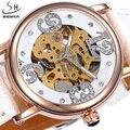 Mulheres Relógios SHENHUA Moda Casual Relógios Auto de Vento Automático Esqueleto Relógio de Couro Das Senhoras Das Mulheres do Sexo Feminino Relógio Relógio De Vestido