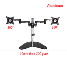 DL-T602B full motion 360 rotate big glass base aluminum double screen mount 2 computer desktop bracket monitor stand support