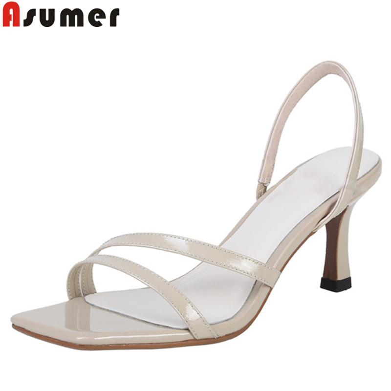 ASUMER 2019 new summer sandals back strap genuine leather shoes women solid color ladies prom shoes classic women sandals ASUMER 2019 new summer sandals back strap genuine leather shoes women solid color ladies prom shoes classic women sandals