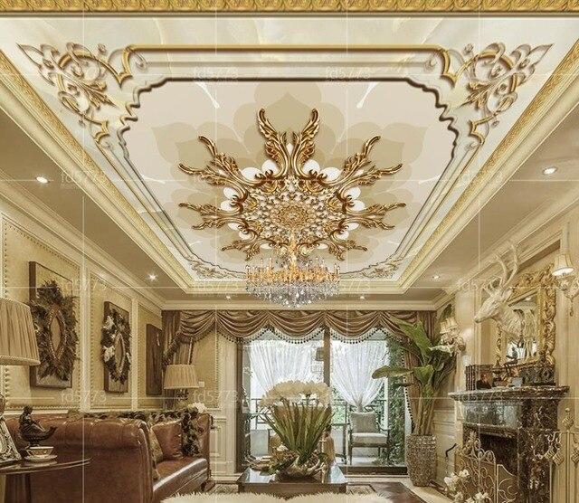 Custom Photo Mediterrane Slaapkamer Behang mooie bloem 3D Plafond ...