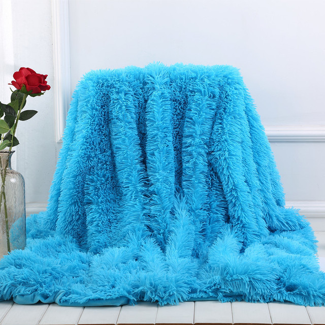 XC USHIO 2020ใหม่โยนผ้าห่มผ้าคลุมเตียงผ้าปูที่นอนBrightสีSuper Soft Long Shaggy Warmคริสต์มาสของขวัญ