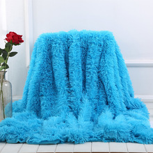 XC USHIO 2020 New Bed Sofa Throw Blanket Bedding Sheet Bedspread Bright Color Super Soft Long Shaggy Warm Christmas Gift