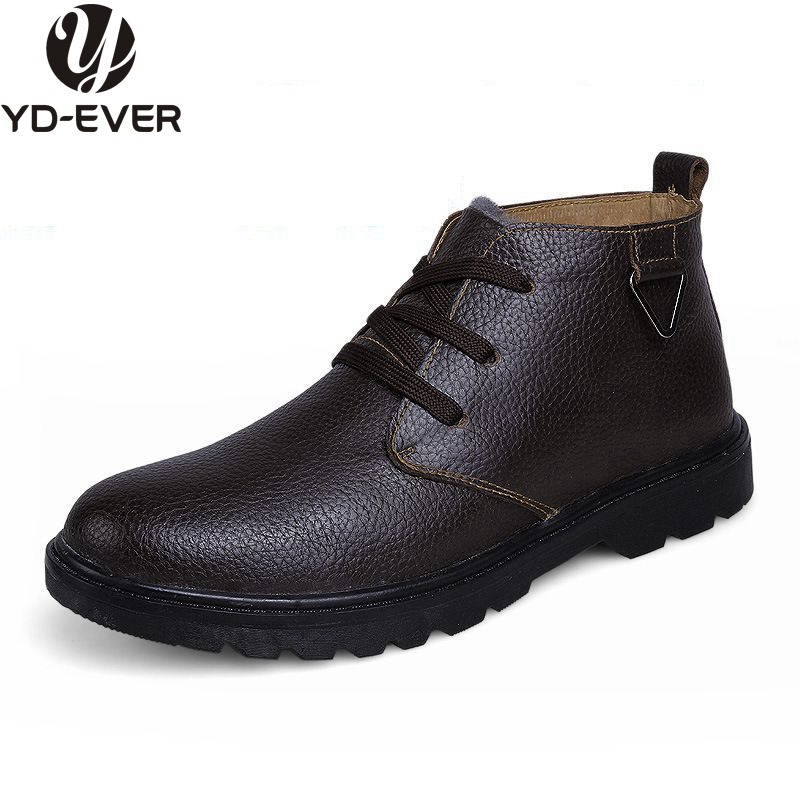 100% Echtem Leder Männer Schnee Stiefel Warme Wasserdichte Winter Schuhe Wolle Pelz Stiefel Wandern Mode Schuhe Marke Nachfrage üBer Dem Angebot