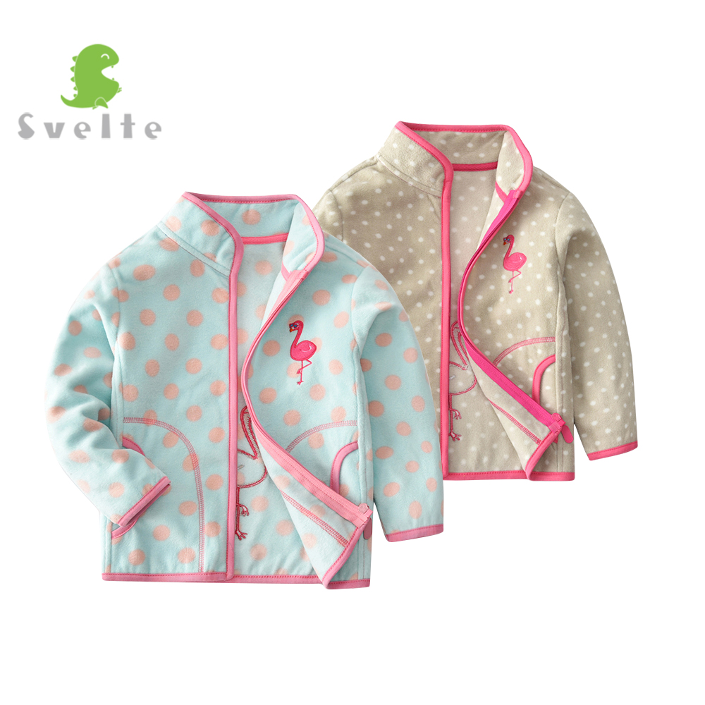 SVELTE for 2-7 Y Girls Soft Fleece Jacket Cute Polka Dot Pink Blue Coat with Red Flamingo Embroidery Children Spring Autumn Fall red white polka