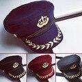 Яхты Капитан Hat Сейлор Вмф Пшеницы Значок Вышитые Шерстяные Crown Восьмиугольная Кепка Шляпы