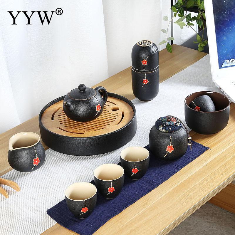 Ensemble de tasse à thé en porcelaine cadeau de cérémonie de thé exquis lait Oolong tasse à thé fleur rouge/blanche avec sac de voyage théières petites tasses