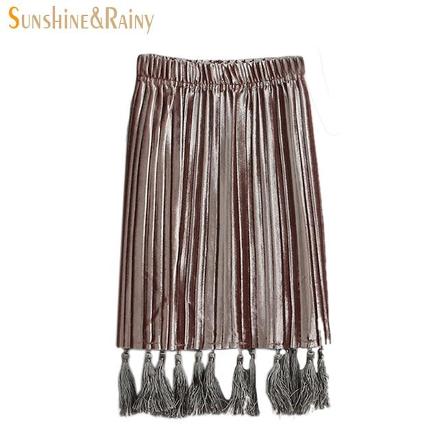 Sunshine & Rainy Girls Pleated Skirts Summer Fashion Kids Clothes Girls Tassel Skirt Kids Knit Skirts For Girl Children Clothing