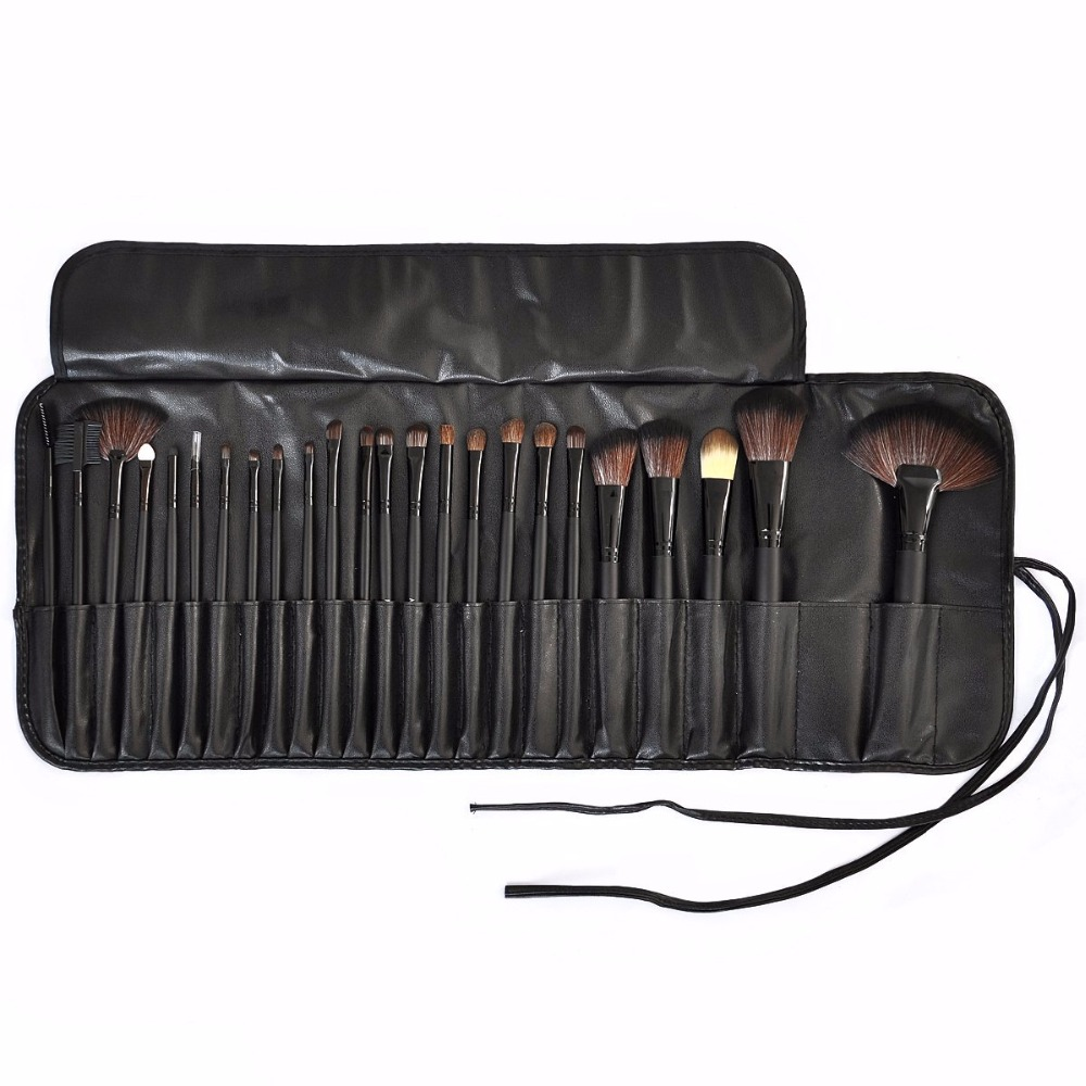 24 pcs black Professional cosmetic brush kit makeup brushes set case make up brush kits makeup beauty Face care tool for you msq pro mask makeup brush home diy facial face eye mask use soft mask brush treatment cosmetic make up brush beauty makeup tool