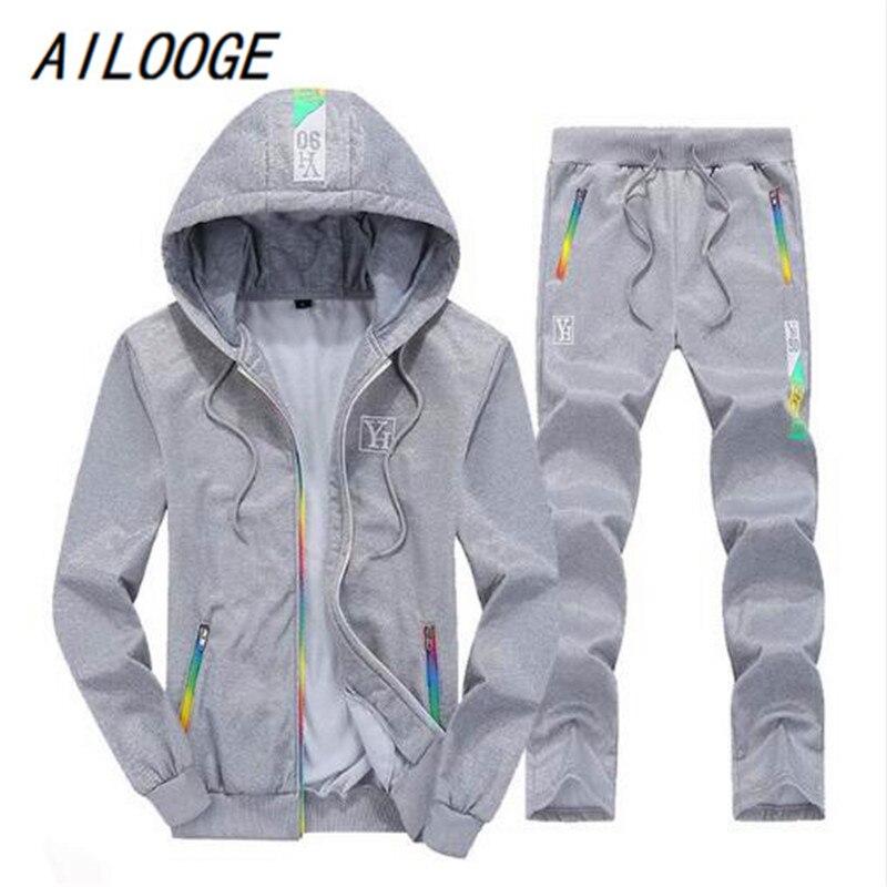 AILOOGE Sporting Suit Mens Hoodie Zipper Cardigan Pants Suits Tracksuit Two Piece Set Men Clothing Sets Plus Size M-4XL