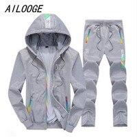 AILOOGE Sporting Suit Mens Hoodie Zipper Cardigan Pants Suits Tracksuit Two Piece Set Men Clothing Sets Plus Size M 4XL