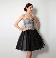 Backlackgirl Hot Sale Sweetheart Backless Short Homecoming Dresses Lace Up Mini Black Graduation Dress Tulle Cocktail Party Gown