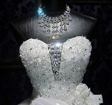BANVASAC 2017 Nieuwe Luxe Kristallen Strapless Trouwjurken Mouwloze - Trouwjurken - Foto 4