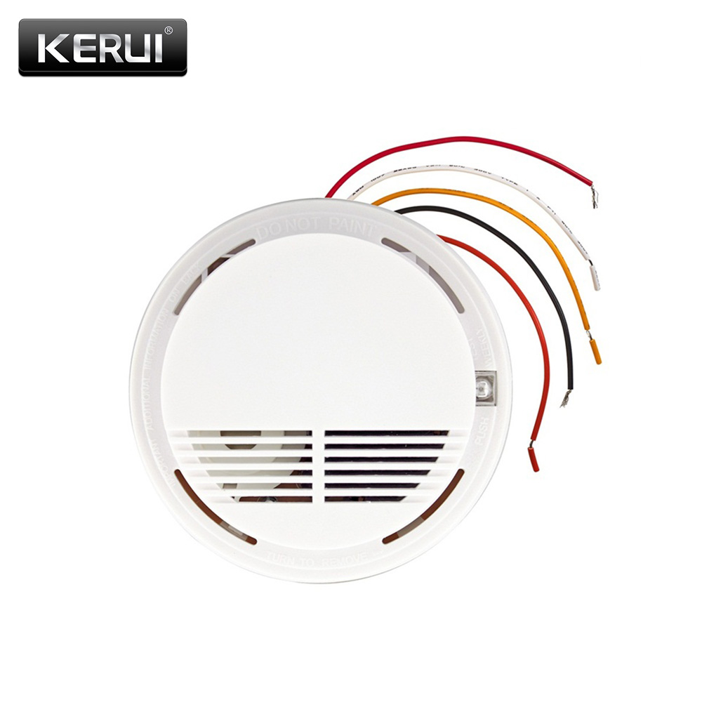 Wired Alarm Security Smoke Fire Detector Wired Smoke Detector Alarm Sensors For all GSM Alarm System For Home House Office minritech 110 220v wireless smoke fire detector smoke alarm for touch keypad panel wifi gsm home security system