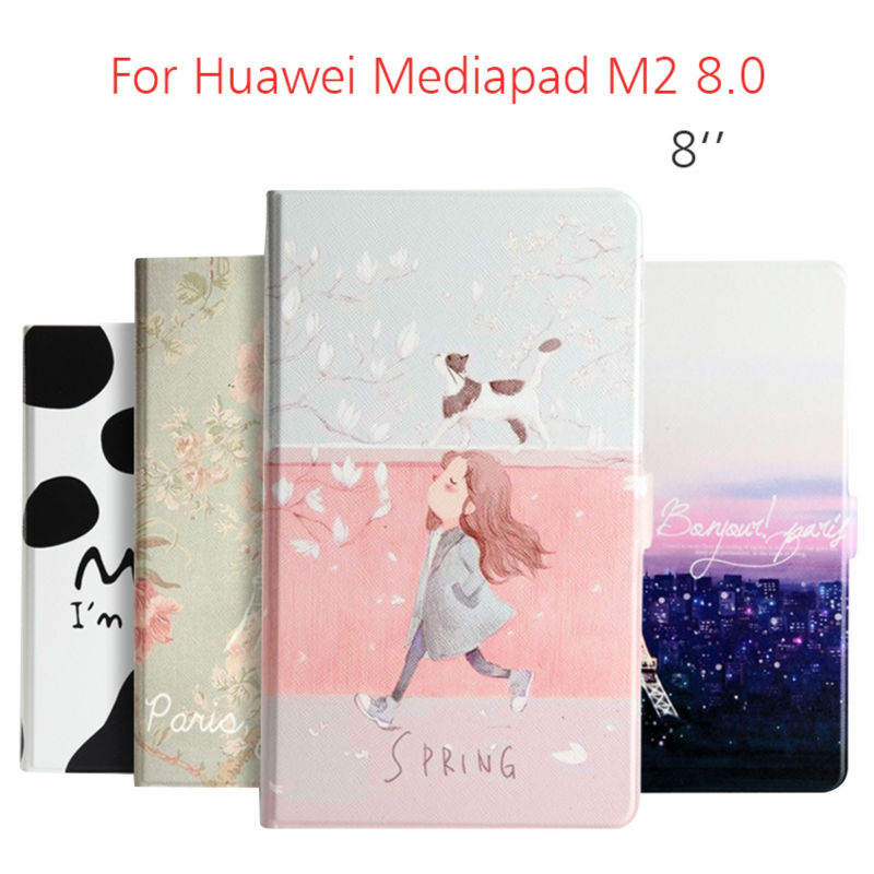 MediaPad M2-803L 8.0 PU Leather Case 8'' Tablet Cover Colorful Print Smart Magnetic Fundas Stand Skin For Huawei MediaPad M2 8.0 book leather case tablets accessories business cover fundas for huawei mediapad m2 ple 703l t2 7 0 pro pu stand cases capa