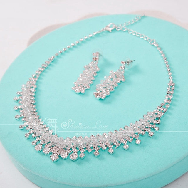 rhinestone silver plated jewelry crystal jewelry sets necklace earrings necklace set wedding jewelry