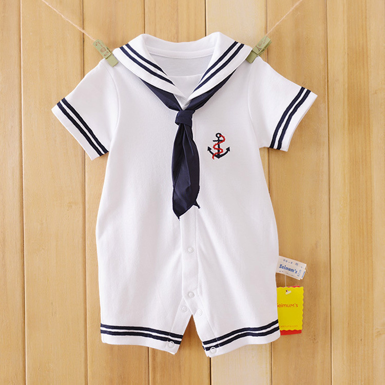 2017 Newborn baby clothes White Navy Sailor uniforms summer baby rompers Short sleeve one-pieces jumpsuit baby boy girl clothing 2016 summer short sleeve baby boy sailor suit jumpsuit infant clothing navy newborn baby rompers