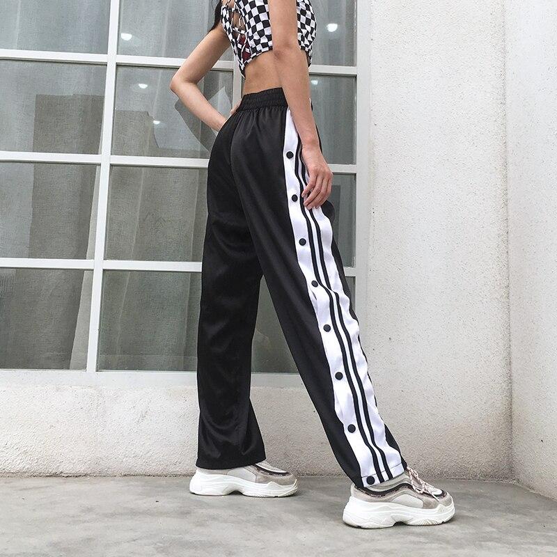 Weekeep Hohe Taille Split Satin frauen Hosen Patchwork Lose Elastische Taille Streetwear Taste Wid Bein Hosen Casual Hosen Frauen