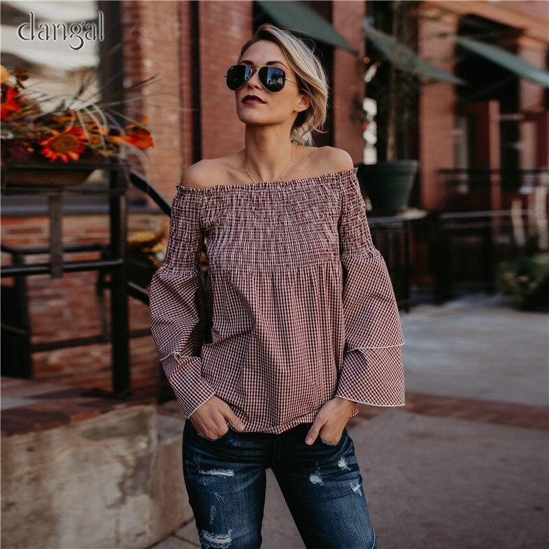 Vintage Spring Shirt Women Flare Sleeve Fashion Plaid Shirt blouses Sexy Slash Neck Cotton Blouses Free Shipping 2018 Spring