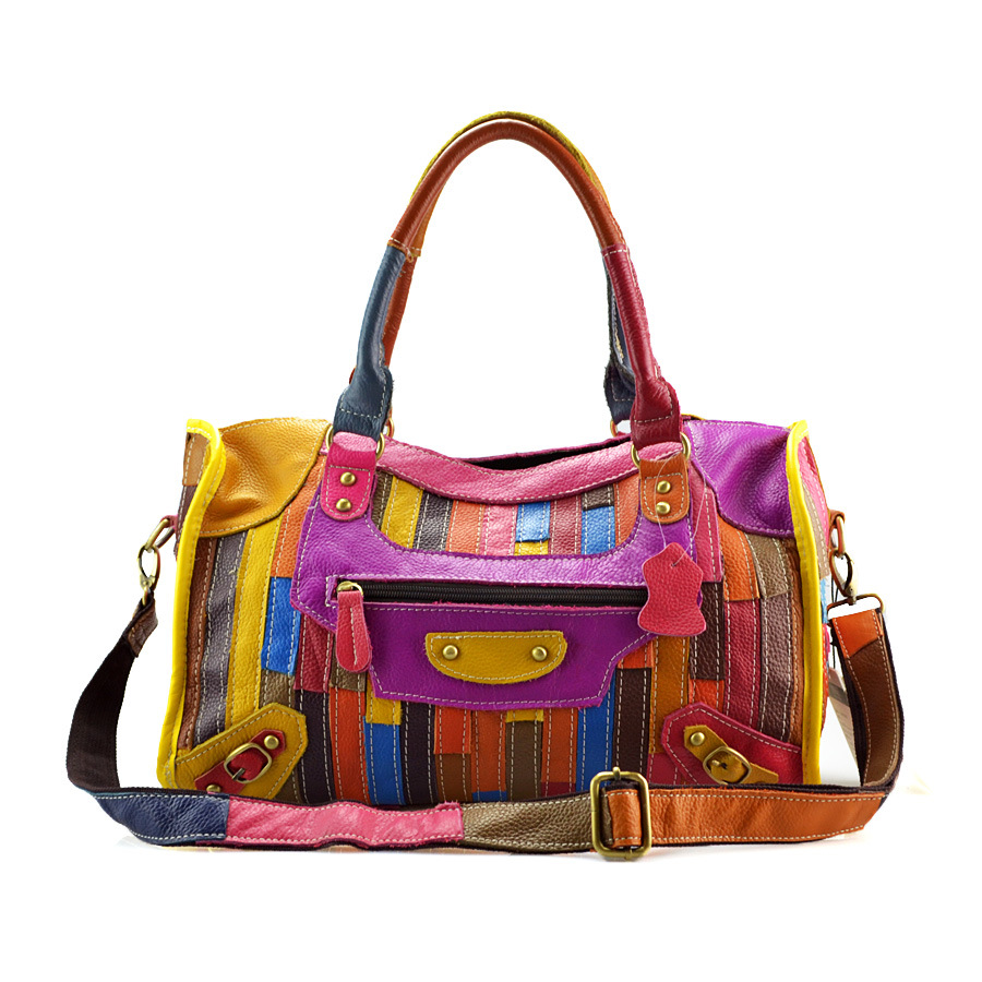 Fashion Colorful Women Patchwork Totes Crossbody Shoulder Bag All-Matched Real Sheepskin Casual Leather Handbags 2017 new arrival women fashion rivet patchwork box shoulder handbags genuine leather female trunk flap totes crossbody bag