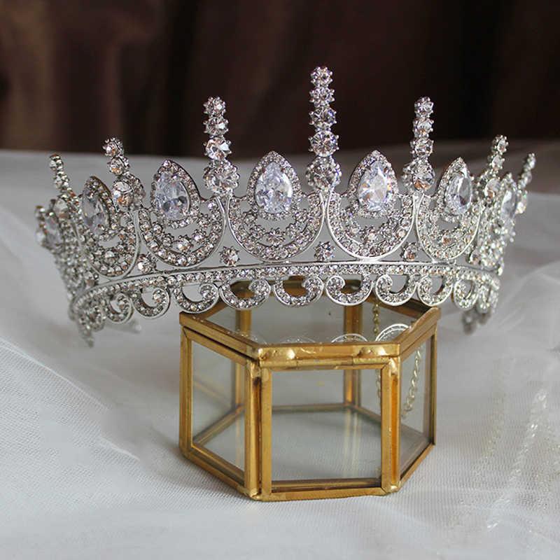 Himstory Nobile Bellezza Della Principessa Tiara Cubic Zircone Da Sposa Da Sposa Corona di Strass Pageant Crown Per Le Spose Fasce