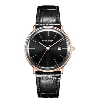 2019 Reef Tiger/RT Top Band Luxury Dress Watch for Men Brown Leather Strap Rose Gold Automatic Watch Montre Homme Clock RGA8215 - RGA8215-PBB