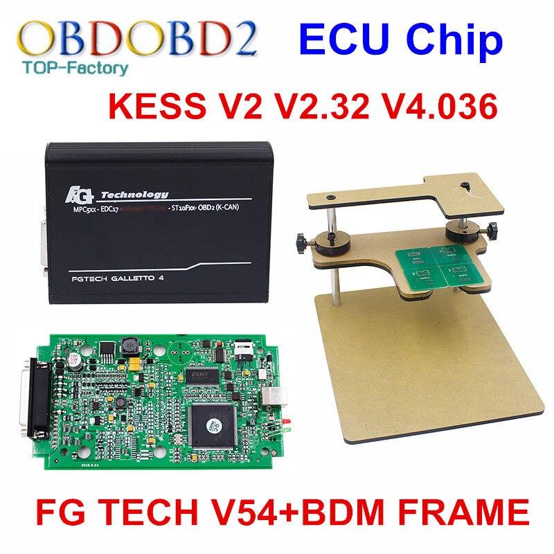 imágenes para Kit KESS V2 Gerente Sintonía OBD2 herramienta de diagnóstico V2.33 HW V4.036 No Tokens + FG TECNOLOGÍA Galletto 4 FGTECH V54 + FRAME BDM Completa Adaptadores BDM100