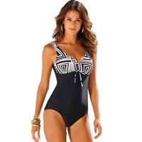 2018 New Arrival One Piece Swimsuit Women Vintage Bathing Suits Plus Size Swimwear Beach Padded Print