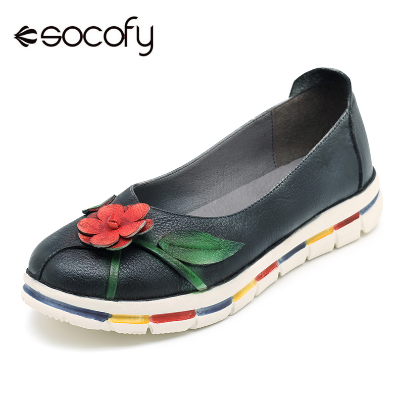 Socofy Moccasins Flats Women Shoes Vintage Genuine Leather Flat Shoes Women Loafers Retro Handmade Flower Casual Slip On Flats цена 2017