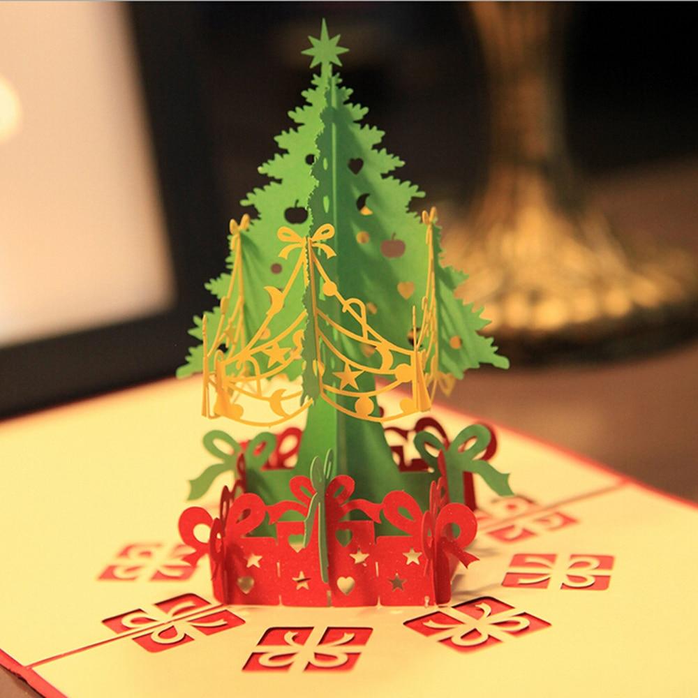 (10 unidades / lote) Tarjetas de Navidad con regalo y árbol de - Para fiestas y celebraciones - foto 1
