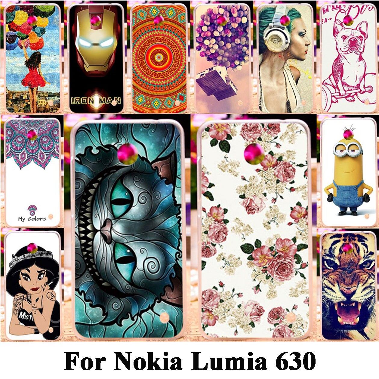 AKABEILA Phone Cases For Nokia Lumia 630 Housing Cover DS Dual SIM RM-978 N630 3G RM-976 Soft TPU Hard PC Bag For Lumia 630