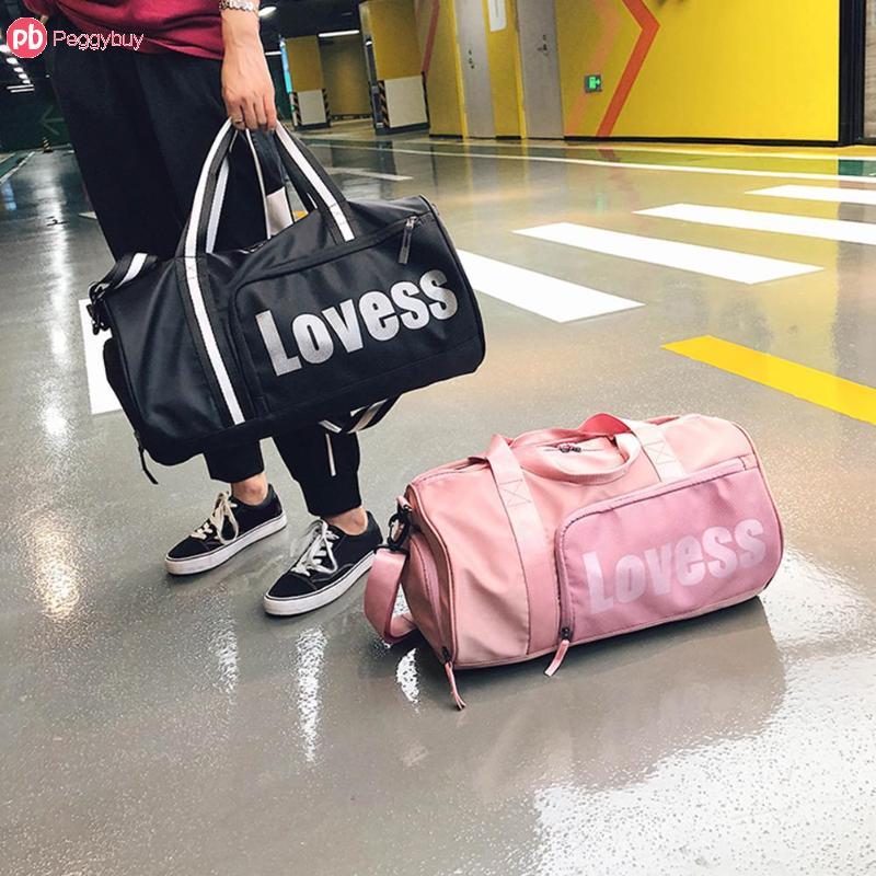 Sports Gym Duffel Barrel Bag Breast Cancer Pink Travel Luggage Handbag for Men Women