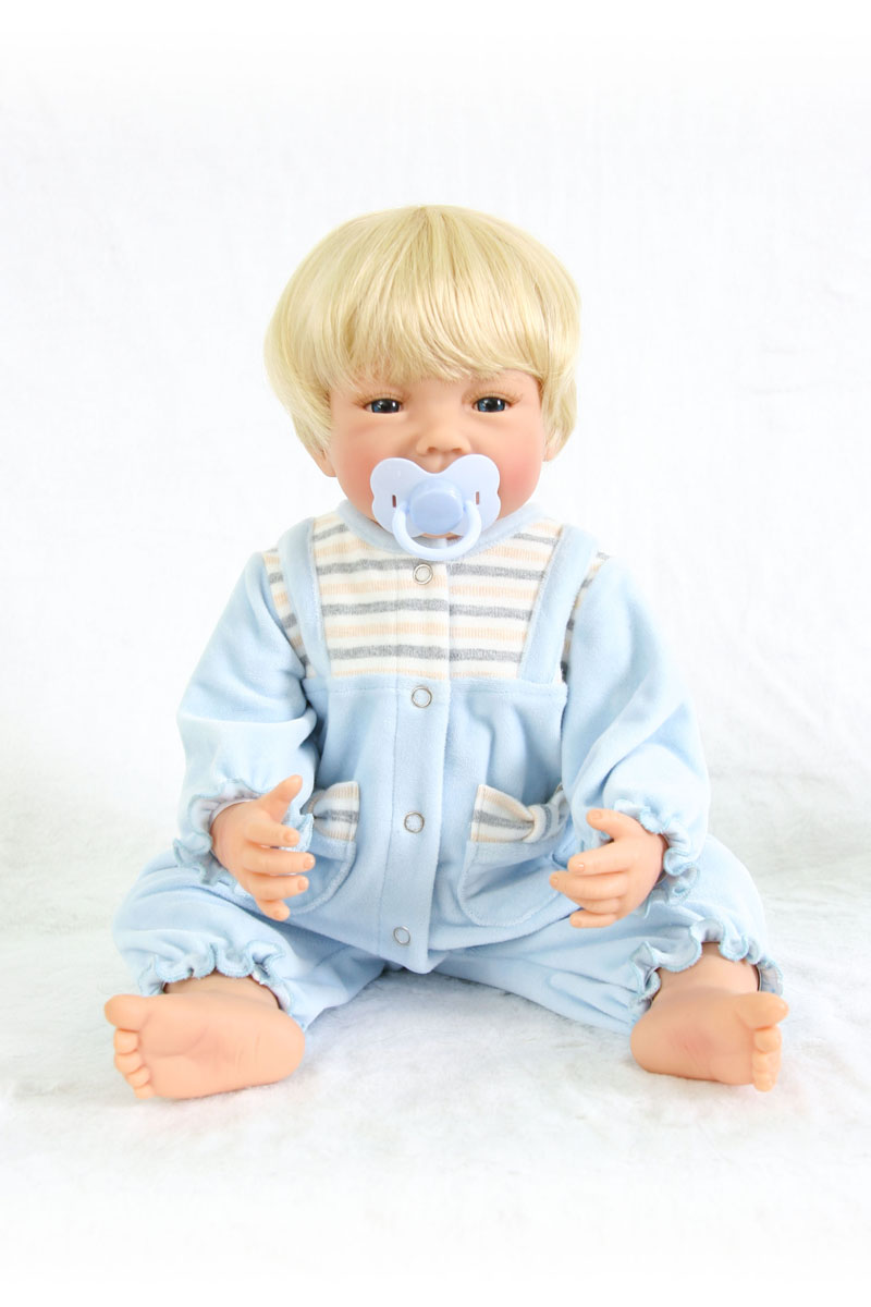 55cm Full Body Silicone Reborn Baby Boy Doll Toy For Girls 22inch Vinyl Newborn Babies Birthday Gift Child Bathe Play House Toy