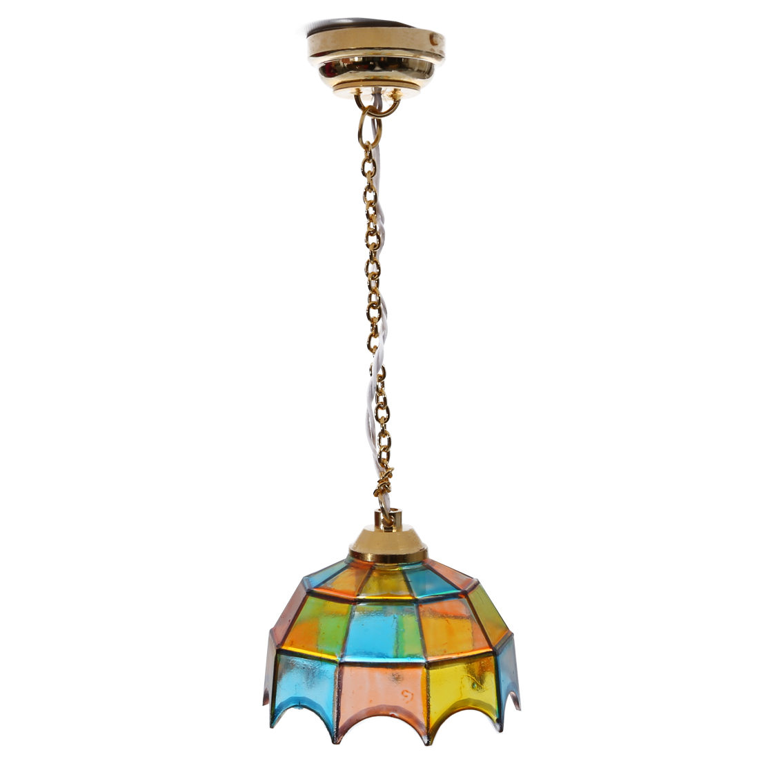 Metal 1:12 Dollhouse Miniature Ceiling Lamp Model With Multicolor Umbrella Shape Lampshade