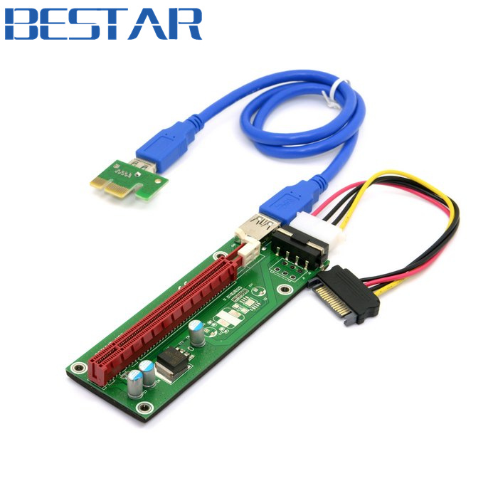 Riser PCI-E x1 pcie 1x to pci express x1616x Mining Machine Enhanced Extender Riser card Adapter with USB 3.0 & SATA Power Cable балансир стоя дачный