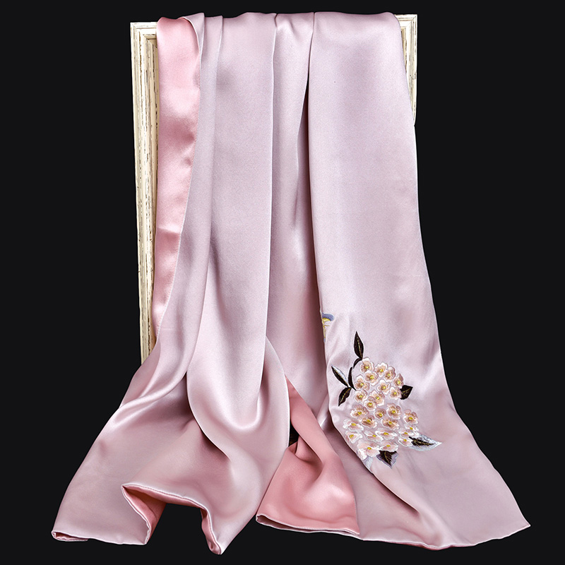 100% Pure Silk Scarf Luxury 2019 Hangzhou Silk Shawls and Wraps for Women Handmade Embroidery Natural 16 m/m Real Silk Scarves - 2
