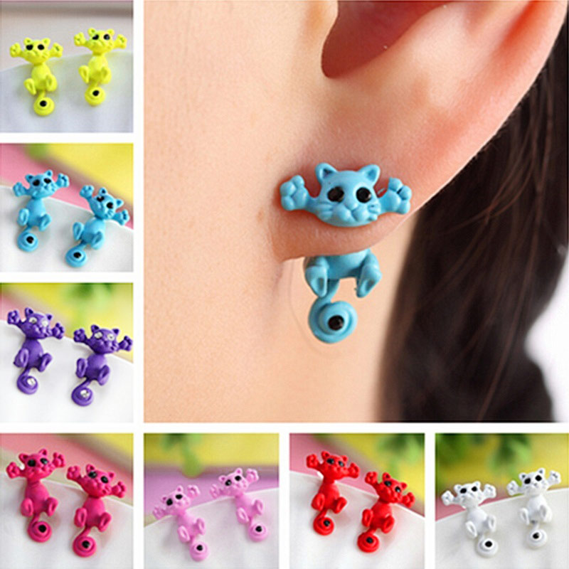 1 Pair New Fashion 3D Black Eye Small Cat Stud Earrings Cute Fine Jewelry Piercing Earrings Gifts For Girls KQS
