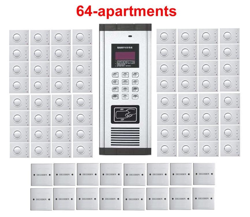 Xinsilu Home Security Nicht-visuelle Gebäude Intercom System Passwort & Id Karte Entsperren Schnelle Farbe 64-wohnungen Hand-free Audio Tür Telefon
