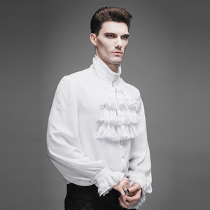 Image 3 - Fashion Punk New Gothic Party Steampunk Black Top Evening Shirt Retro Palace Personality Pure White Men Casual Shirt Blouse