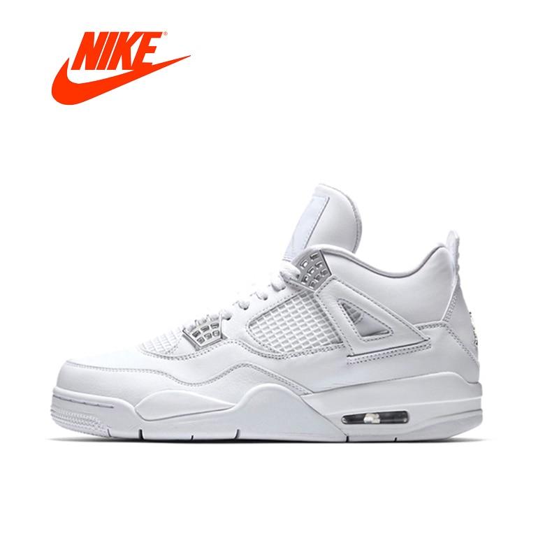 Uomo Nike Air Jordan 4 Comodo Durevole Bianco Traspirante Scarpe Da Basket Degli Uomini antiscivolo AJ4 Laser delle scarpe Da Tennis di Sport