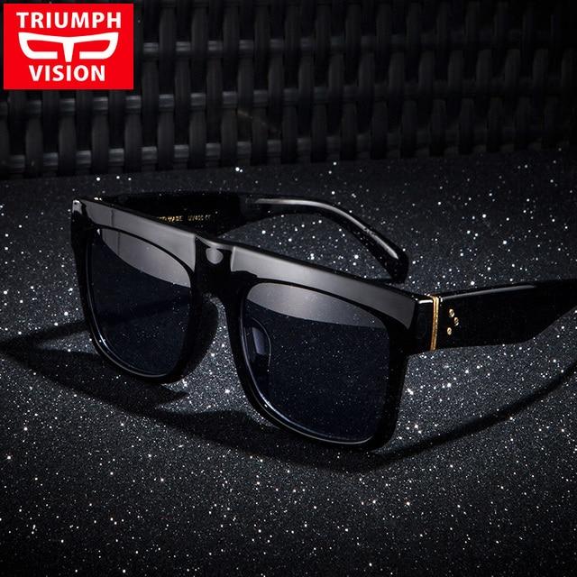 779e09c15e3a8 TRIUMPH VISÃO Resistente Preto Flat Top Homens Óculos Oversized Óculos de sol  Grande Quadro Quadrado Verão