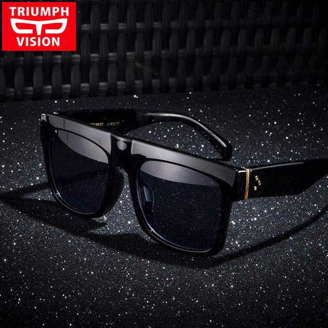 TRIUMPH VISÃO Resistente Preto Flat Top Homens Óculos Oversized Óculos de  sol Grande Quadro Quadrado Verão 1bc6e12c27