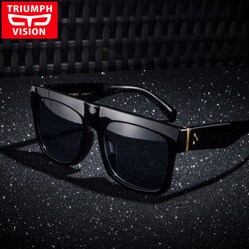 TRIUMPH VISION Robust Sort Flat Top Mænd Solbriller Oversized Big Frame Square Summer Cool Fashion Mandlige Solbriller Gradient UV