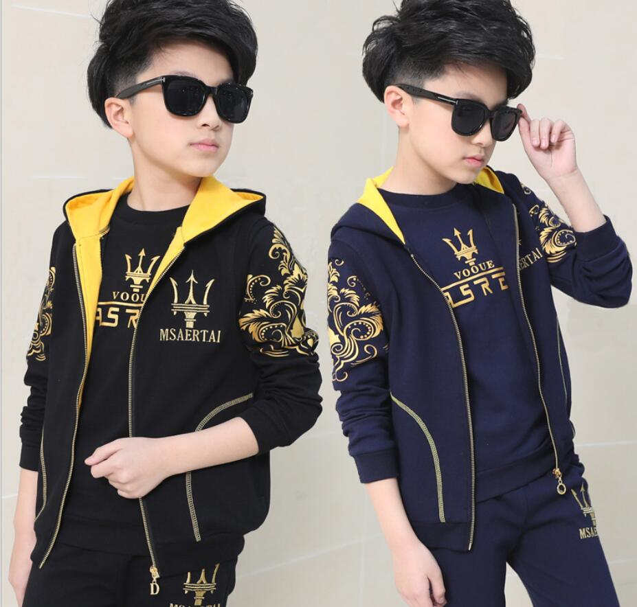 Spring And Autumn Children s Sports Suits Three - piece Ensemble Garcon Long - sleeved Kid s Sets Clothes For Boys HW2042