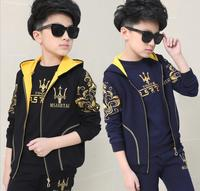 Spring And Autumn Children 's Sports Suits Three piece Ensemble Garcon Long sleeved Kid' s Sets Clothes For Boys HW2042