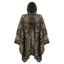 Camouflage Leaf Hunting Poncho Jungle Woodland Birdwatching Breathable Ghillie Suit For Hunter Camping Clothing