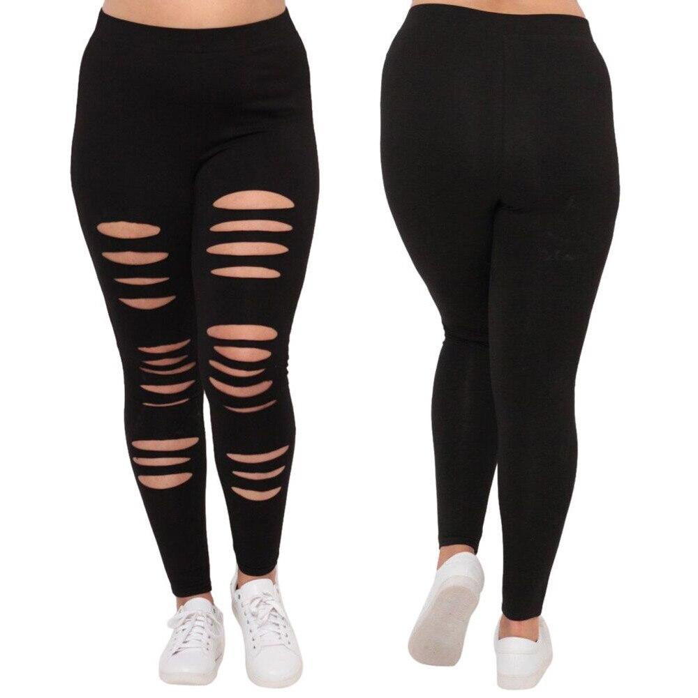 Plus Size Women Sexy Leggings Trousers Sport Hole Pants Large Black flexible track Sweatpants Tights Sportswear tights