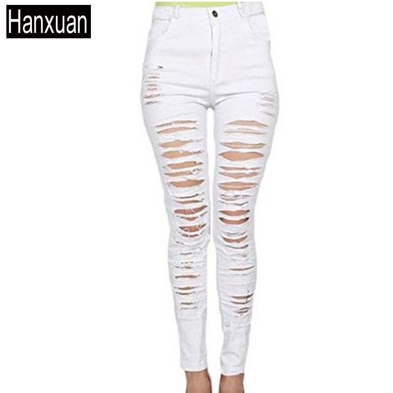 Wild Sexy Pencil Pants Many Big Holes Skinny Stretch Cotton Pants Cotton Black White Slim Ripped Distressed Skinny Denim Jeans флогер wild black